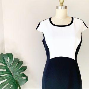 Elie Tahari • Color Block Cap Sleeve Sheath Dress